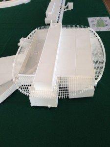En miniatyrmodell av de nya forskningsanläggningarna på Brunnshög.